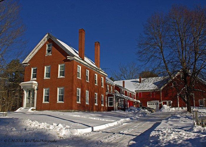 Farmhouse Greeting Card featuring the photograph Quaint Maine Winter Farm by Catherine Melvin