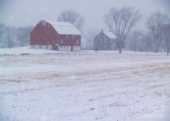 Farm Greeting Card featuring the photograph Quakertown Farm On Snowy Day by Anna Lisa Yoder