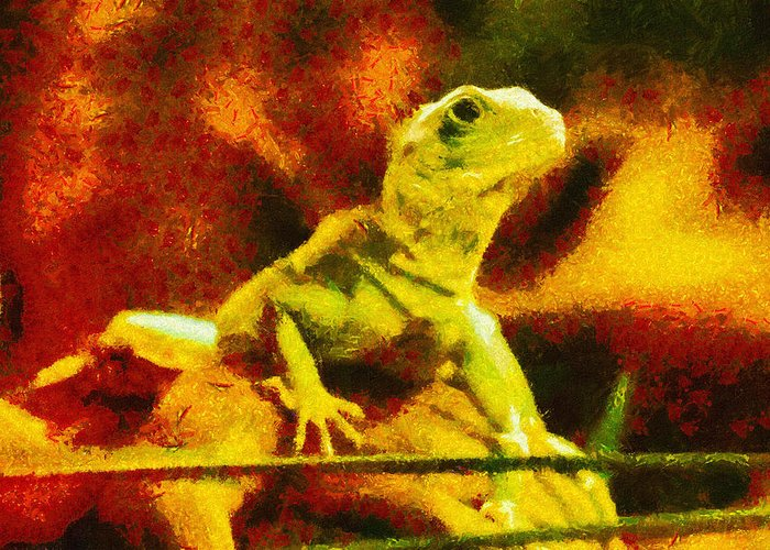 Lizard Greeting Card featuring the painting Queen Of The Reptiles by Ayse Deniz