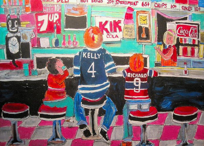 Montreal 1960's Greeting Card featuring the painting Quick Deli by Michael Litvack