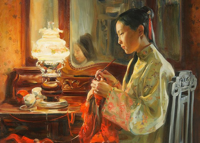 China Greeting Card featuring the painting Quiet Evening by Victoria Kharchenko