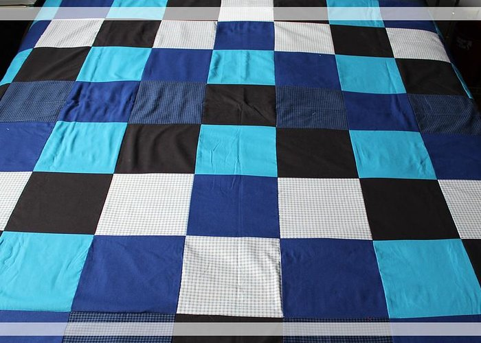 Quilts Greeting Card featuring the tapestry - textile Quilt Blue Blocks by Barbara Griffin
