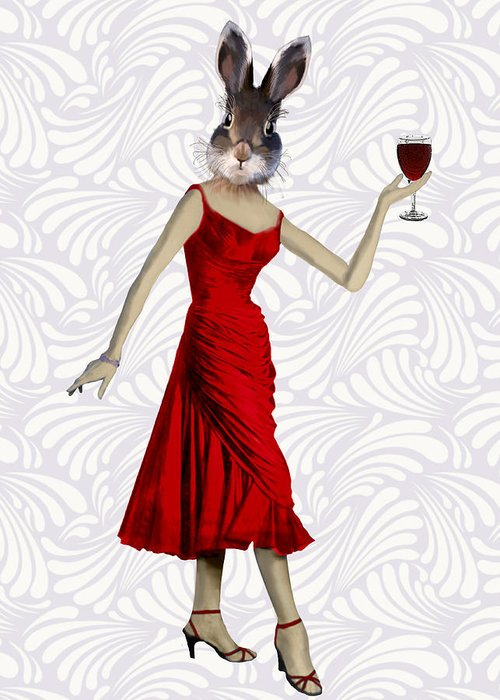 Rabbit Framed Prints Greeting Card featuring the digital art Rabbit In A Red Dress by Kelly McLaughlan