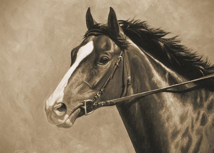 Horse Greeting Card featuring the painting Racehorse Painting In Sepia by Crista Forest