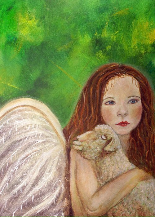 Irish Greeting Card featuring the painting Rachelle Little Lamb The Return To Innocence by The Art With A Heart By Charlotte Phillips