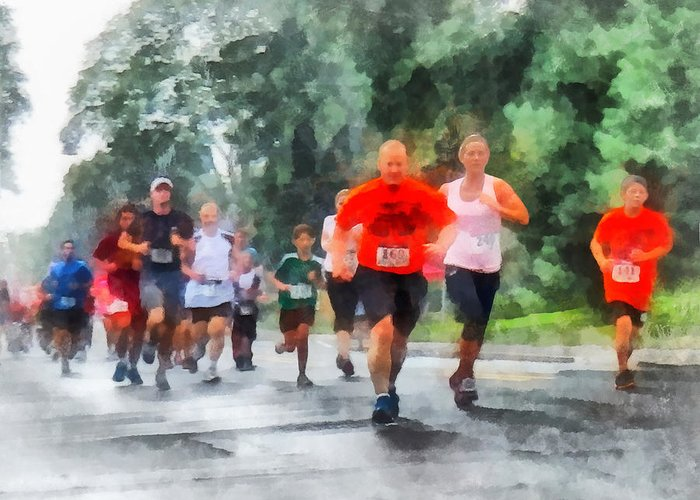 Run Greeting Card featuring the photograph Racing In The Rain by Susan Savad