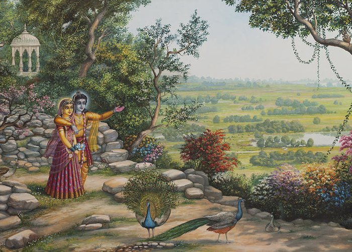 Krishna Greeting Card featuring the painting Radha And Krishna On Govardhan by Vrindavan Das