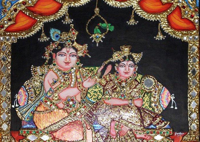 Tanjore Greeting Card featuring the painting Radha Krishna by Jayashree