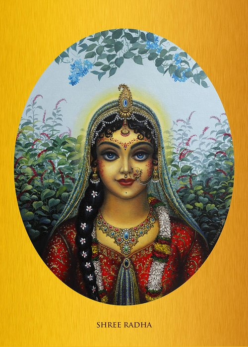 Krishna Greeting Card featuring the painting Radha by Vrindavan Das