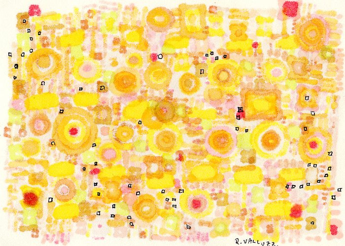Art Card Greeting Card featuring the drawing Radiating by Regina Valluzzi
