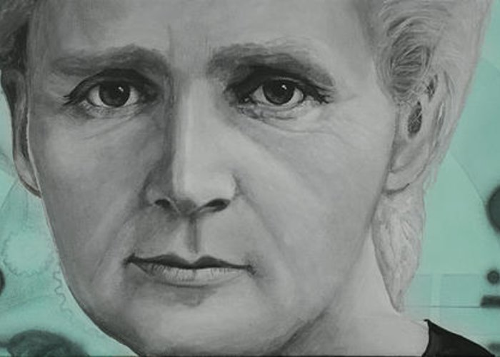 Marie Curie Greeting Card featuring the painting Radium- Marie Curie by Simon Kregar