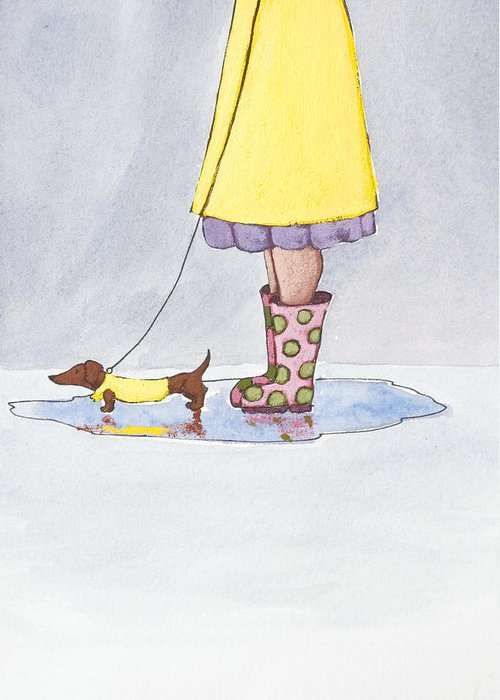 Boot Greeting Card featuring the painting Rain Boots by Christy Beckwith