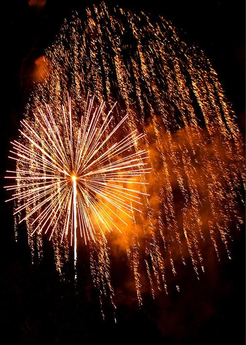 Fire Works Greeting Card featuring the photograph Rain Down On Me by Angie Wingerd