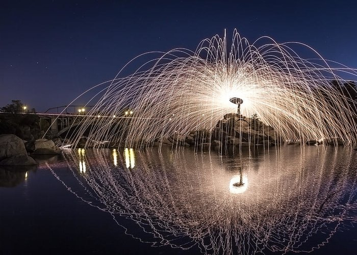 Steel Wool Greeting Card featuring the photograph Rainbow Bridge Halo by Lee Harland
