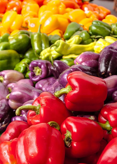 Agriculture Greeting Card featuring the photograph Rainbow Of Peppers by Teri Virbickis