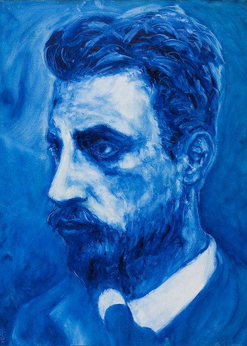 Sviatoslav Greeting Card featuring the painting Rainer Maria Rilke by Sviatoslav Alexakhin