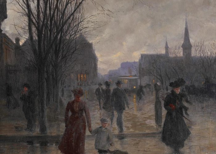 Mn Greeting Card featuring the painting Rainy Evening On Hennepin Avenue by Robert Koehler