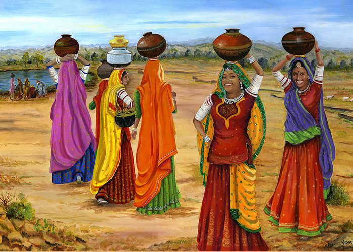 India Greeting Card featuring the painting Rajasthani Women Going Towards A Pond To Fetch Water by Vidyut Singhal
