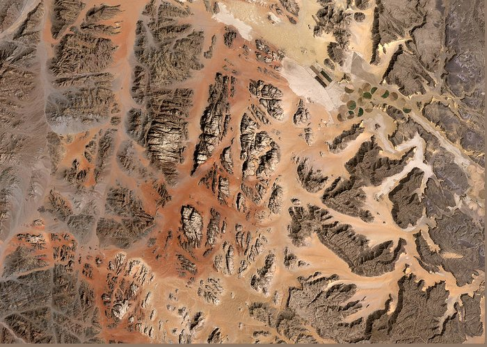 Satellite Image; Map; Environment; Desert; Plateau; Sand; Valley; Africa; Middle East; Jordan; Red Sea Greeting Card featuring the photograph Ram Desert Transjordanian Plateau Jordan by Anonymous