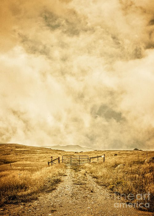 Ranch Greeting Card featuring the photograph Ranch Gate by Edward Fielding