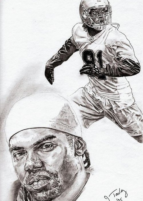 Randy Moss Greeting Card featuring the drawing Randy Moss by Jonathan Tooley