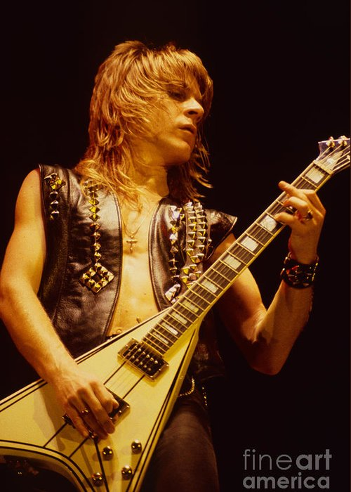 Concert Photos For Sale Greeting Card featuring the photograph Randy Rhoads At The Cow Palace In San Francisco by Daniel Larsen