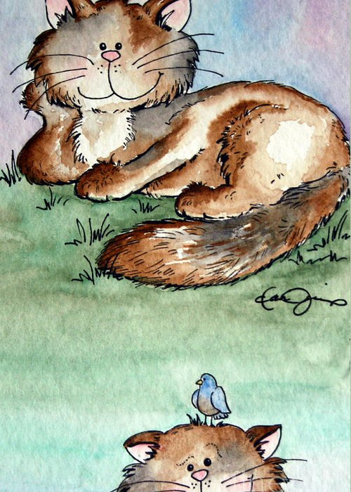 Cat Artwork Greeting Card featuring the painting Rascal And Pal by Dani Abbott
