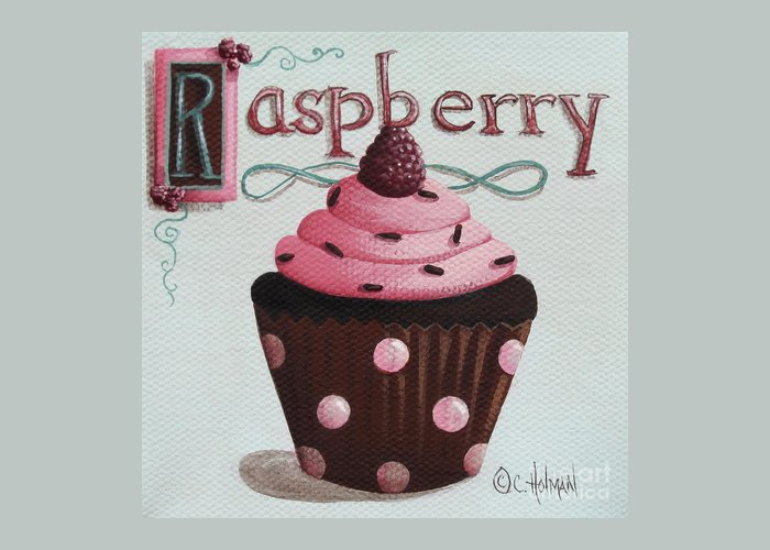Art Greeting Card featuring the painting Raspberry Chocolate Cupcake by Catherine Holman