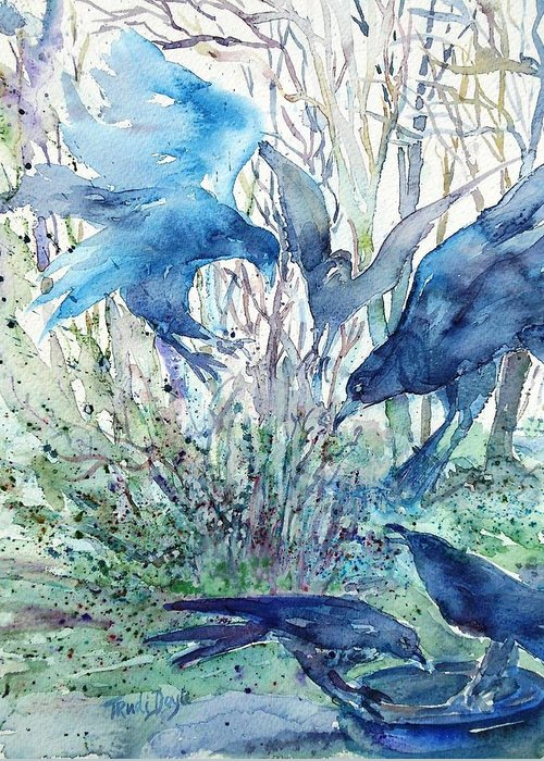 Birds Greeting Card featuring the painting Ravens Wood by Trudi Doyle