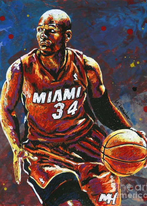 Ray Greeting Card featuring the painting Ray Allen by Maria Arango