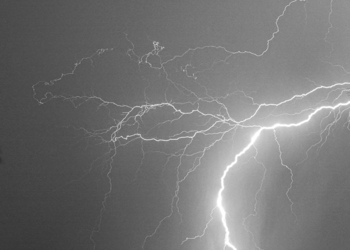 Lightning Greeting Card featuring the photograph Reaching Out Touching Me Touching You Bw by James BO Insogna