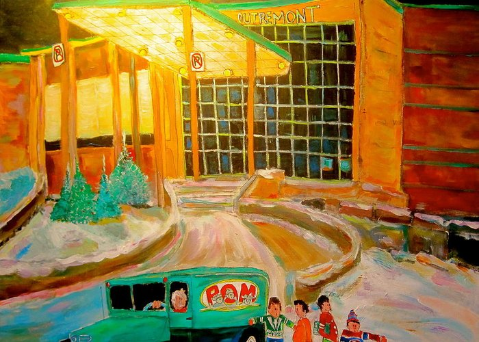 Outremont High School Greeting Card featuring the painting Recess At Outremont High by Michael Litvack