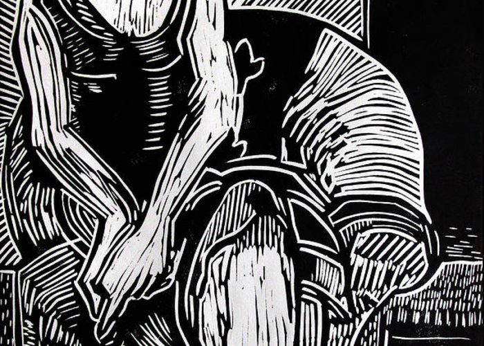 Lino-cut Greeting Card featuring the relief Reclining by Charlie Spear