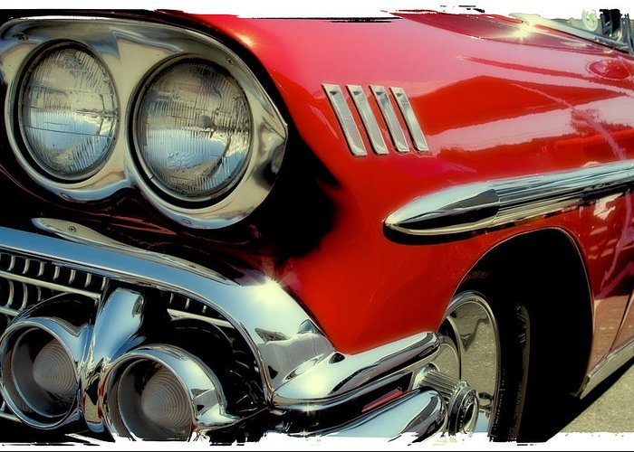58 Greeting Card featuring the photograph Red 1958 Chevrolet Impala by David Patterson