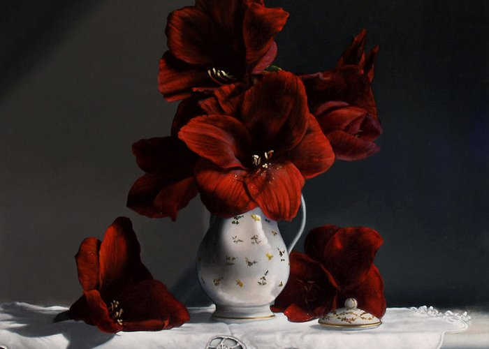 Amaryllis Greeting Card featuring the painting Red Amaryllis by Larry Preston