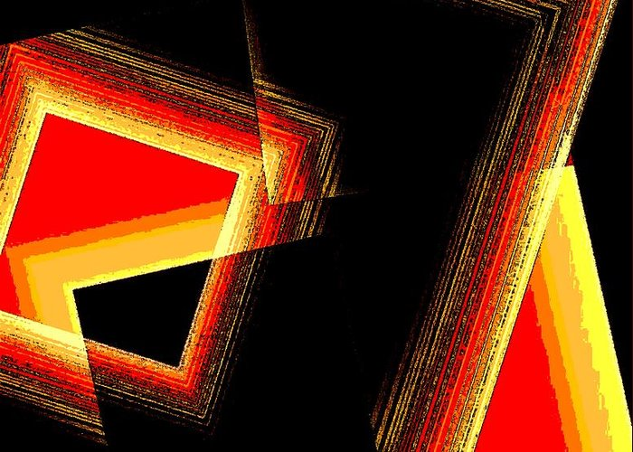 Black Greeting Card featuring the digital art Red And Yellow Geometric Design by Mario Perez