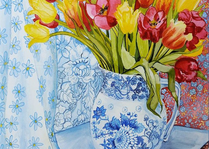 Colourful; Flowers; Floral Pattern; Patterned; Blue And White China; Still Life; Vibrant Greeting Card featuring the painting Red And Yellow Tulips In A Copeland Jug by Joan Thewsey