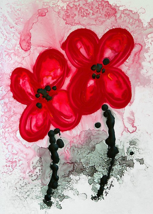 Red Asian Poppies Greeting Card featuring the painting Red Asian Poppies by Sharon Cummings