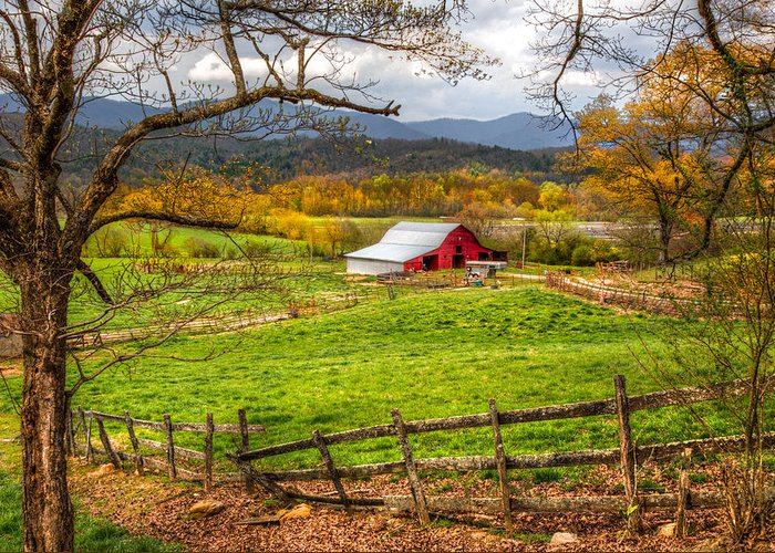 Andrews Greeting Card featuring the photograph Red Barn by Debra and Dave Vanderlaan