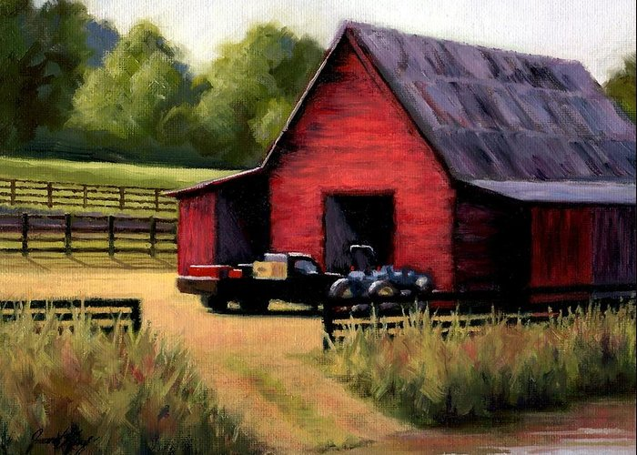 Barn Greeting Card featuring the painting Red Barn In Leiper's Fork Tennessee by Janet King