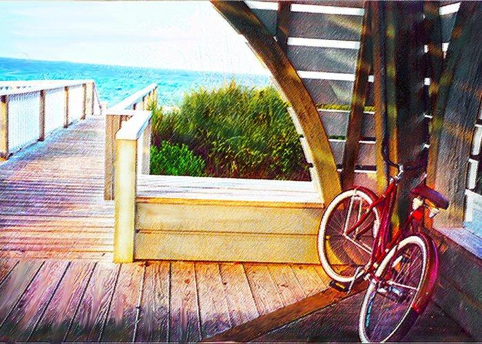 Bike Greeting Card featuring the digital art Red Bike On Beach Boardwalk by Jane Schnetlage