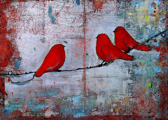 Red Birds Greeting Card featuring the painting Red Birds Let It Be by Blenda Studio
