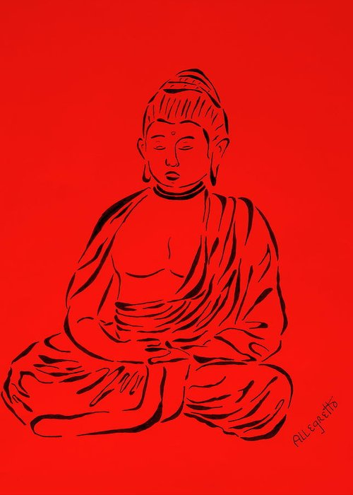 Pamela Allegretto-franz Greeting Card featuring the painting Red Buddha by Pamela Allegretto