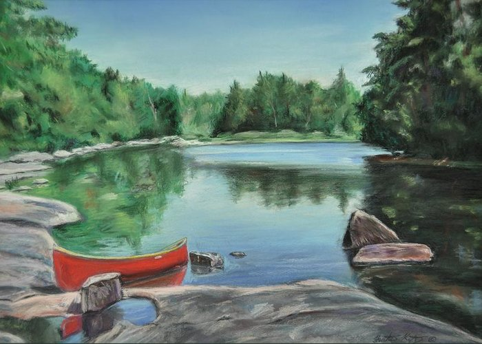 Landscape Greeting Card featuring the painting Red Canoe by Heather Kertzer