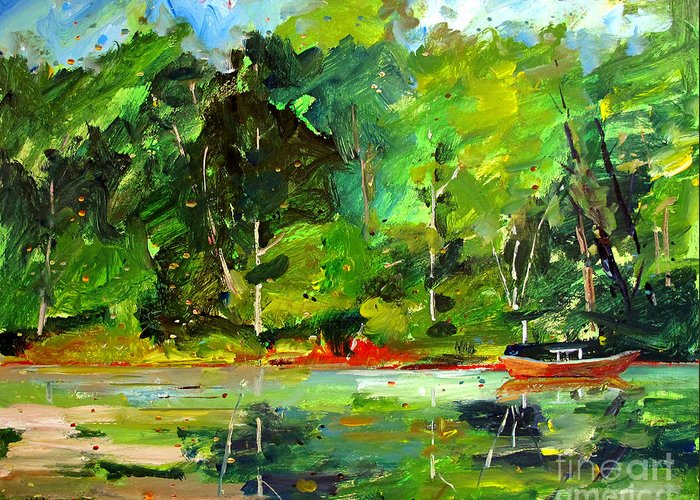 Canoe Greeting Card featuring the painting Red Canoe I by Charlie Spear