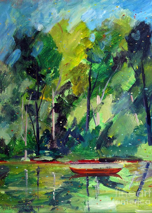 Canoe Greeting Card featuring the painting Red Canoe I I by Charlie Spear
