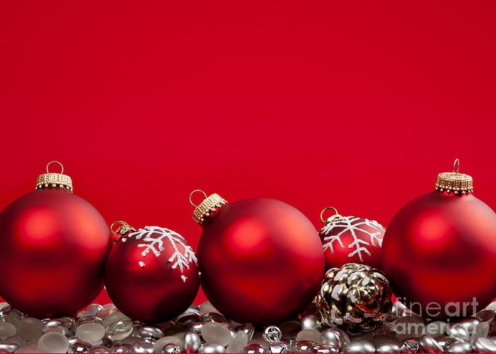 Christmas Greeting Card featuring the photograph Red Christmas Baubles And Decorations by Elena Elisseeva