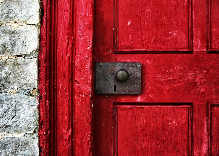 Red Greeting Card featuring the photograph Red Door by Steven Michael
