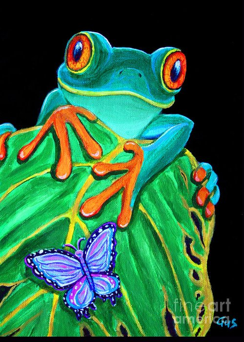 Red Eyed Tree Frog Greeting Card featuring the painting Red-eyed Tree Frog And Butterfly by Nick Gustafson