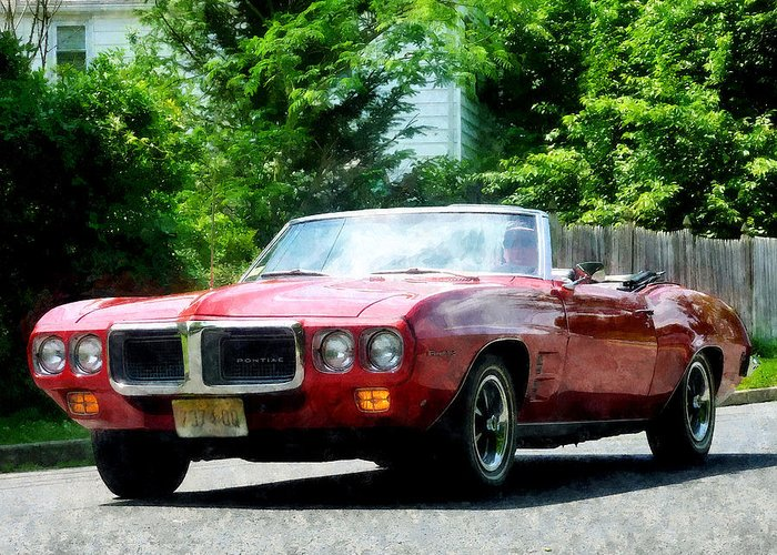 Firebird Greeting Card featuring the photograph Red Firebird Convertible by Susan Savad